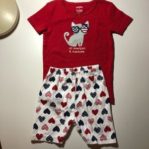 Gymboree All American & Awesome Cat Pajamas 3T